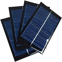 NUZAMAS Juego de 4 Piezas 6V 100mA 90X60mm Micro Mini Células de Panel Solar para Energía de Energía Solar, Hogar DIY, Proyectos Científicos - Juguetes - Cargador de Batería