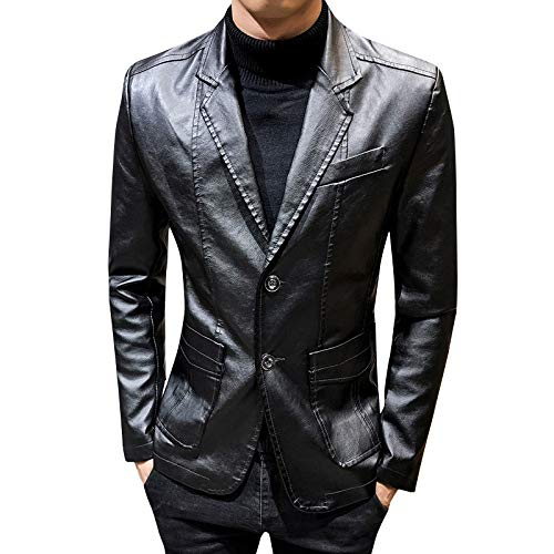 SBL Herren Ledermantel Anzug Herbst - Freizeitjacke Slim Revers Lederanzug - Lederjacke Herren Flut,schwarz,XXXL
