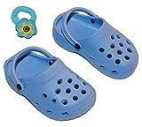 Puppenschuhe Clogs blau Größe 28 - 33 cm für Puppen Schuhe Schuh Sandalen Kleidung - incl. Haargummi - für die Puppe - Puppenschuhe Zehentreter Badesandalen