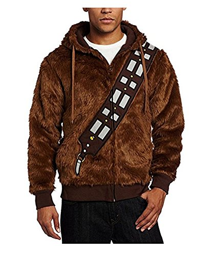 Herren Braun Pelzig Jacke Hoodies Sweatshirt Cosplay Kostüm (XXL, (Chewbacca Kostüm Xxl)