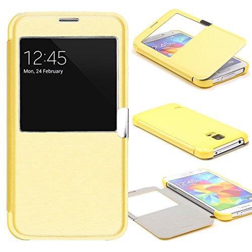 Urcover® View Case Handy Schutz-Hülle | Samsung Galaxy S5 Mini | Hart Kunststoff Gelb | Elegant Wallet Cover Sicht-Fenster | leichte Schale dünne Tasche