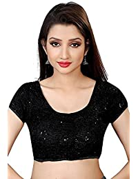 HF Holyday Fashion Women's Brocade and Georgette Round Neck Blouse
