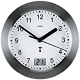 AMS Wanduhr 5925 Funk Aluminium Gehäuse Grau Wasserdichte Baduhr Digital Tischuhr