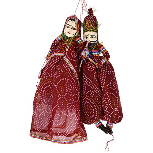 Gaura Art & Crafts Rajasthani Decorative Wooden Cloth Fancy Puppet Pair Home Decor Katputly Showpiece Traditional Decorative Gifts.