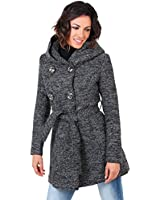 KRISP® Womens Tweed Wool Double Breasted Hooded Coat Parka Jacket Tie Belt Winter Warm Size 8 10 12 14 16