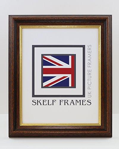 Skelf Frames 35mm, Dunkelblau, Holz, mit Gold-Inlay, Holz, mit Foto-Poster mit Glas-20 x16