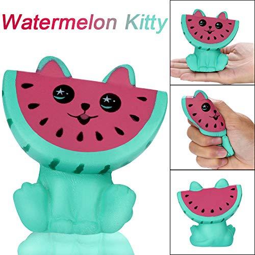 Cooljun Entzückende Squishies Watermelon Kitty Langsam steigende Frucht duftende Stress Relief Spielzeug für Erwachsene und Kinder Weihnachten Geschenk Haus ()