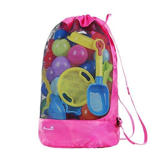 Eocusun borsa da spiaggia, grande borsa lunga durata per sabbia nuotare e piscina e deposito giocattoli bambini da sabbia e acqua(rosa) giocattoli non inclusi