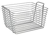 InterDesign Classico Cesta de almacenaje, cesto de alambre de metal grande, caja con asas para accesorios de baño y juguetes, plateado