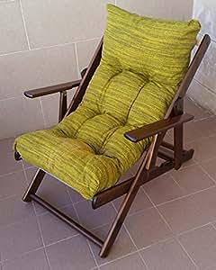 Liberoshopping Fauteuil Chaise Relax Chaise Longue en Bois Pliable Coussin rembourré H 100cm séjour Cuisine Salon canapé