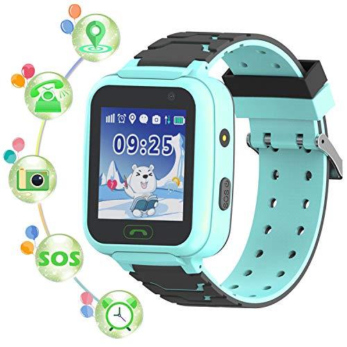 Montre Smart Watch GPS Tracker pour Enfants - Smartwatches pour Enfants IP67 étanche 1.4' Ecran Téléphonique Chat Conversation Podomètre Réveil pour Garçons Filles