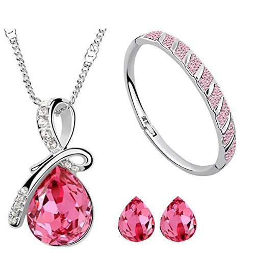 Cyan Pink Crystal & Brass Bow Style Crystal Jewelry Set Combo With Bracelet For Girls  available at amazon for Rs.599