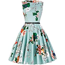 Vestido Mentaverde Vestido de 1950s Vintage Grandes Flores Corsés M 33#