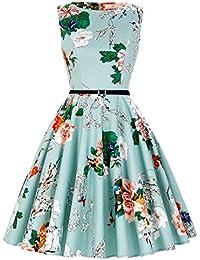 GRACE KARIN 1950s Vintage A-Line Cotton Hepburn Swing Fancy Party Dress with Belt XS-Plus Size 4X