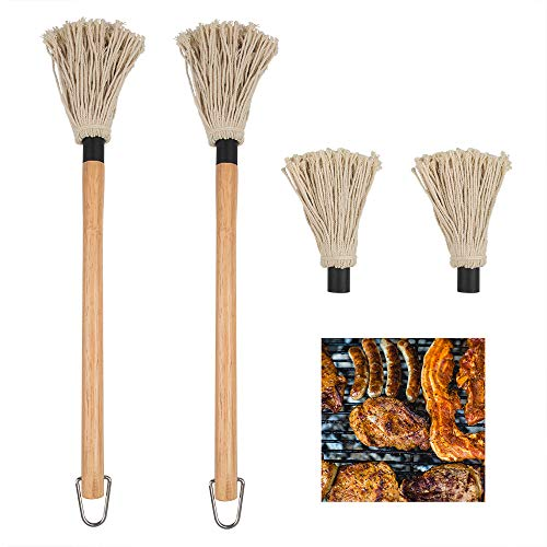 YuCool 2 Stück BBQ Basting Mop Profi BBQ Sauce Großer Mop mit Holzgriff Waschbarer Baumwolle Kopf mit 2 Stück Extra Ersatz Köpfe zum Kochen Braten Grillen