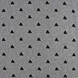 SCHÖNER LEBEN. Strickschlauch Bündchenstoff Dreiecke grau meliert schwarz 35cm Breite