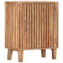 UnfadeMemory Sideboard Akazie-Massivholz Schrank Viel Stauraum Kommode Standschrank im Lattendesign 60 x 35 x 73 cm