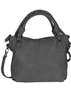 Mevina Damen Handtasche mit Kette Wildleder Optik Schultertasche Henkeltasche viele Farben