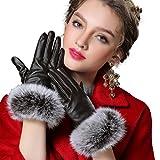 Butterme Cálidos guantes de cuero para dama, guantes forrados para invierno con piel de conejo, aptos para pantalla táctil café medium