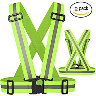 Shengchu Reflective Vest High Visibility Elastic Reflective Running Vest For Walking,Car Safety,Highway Emergencies,Jogging,Cycling,Motorcycle For Adults and Kids (Green(2 Pack))