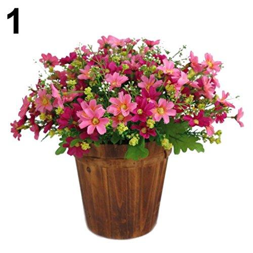 Amesii 1 ramo de 28 cabezas artificiales de margarita para decoración de jardín, boda o casa, rosa