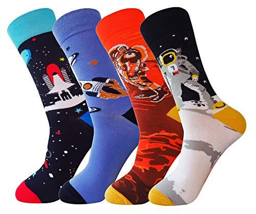 FULIER Herren 4 Pack Farbe Spaß Baumwolle Reich Kleid Socken, Gemütlich, Atmungsaktiv, Clever Design Kalb Socke UK 6-11 EUR 39-47 (Neu) (Farbe Kleid Socken Herren)