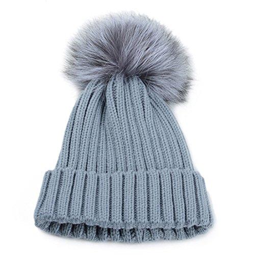Kuyou Bonnet tricoté à pompon fourrure Femme Hiver Chaud Beanie Hat Gris clair