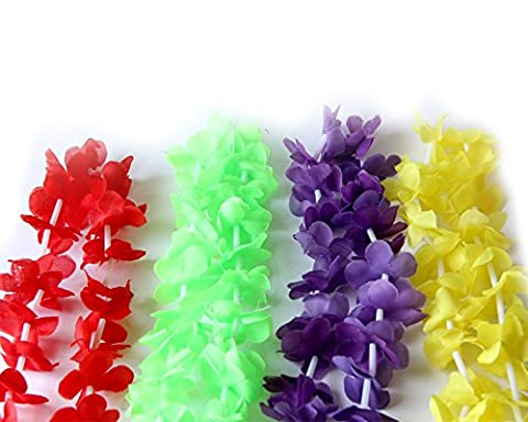 Set Of 4 PCS Mix Purple Red Green Yellow Hawaiian Leis Garland Tropical Necklace Beach Party Accessories