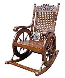 National Handicrafts Carved Rocking Chair / Wooden Rocking Chair/Grandpaa Chair/ Relax Chair/ Eezy Chair
