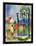 Gerahmtes Bild von August Macke Gartentor, Kunstdruck im hochwertigen handgefertigten Bilder-Rahmen, 50x70 cm, Schwarz matt