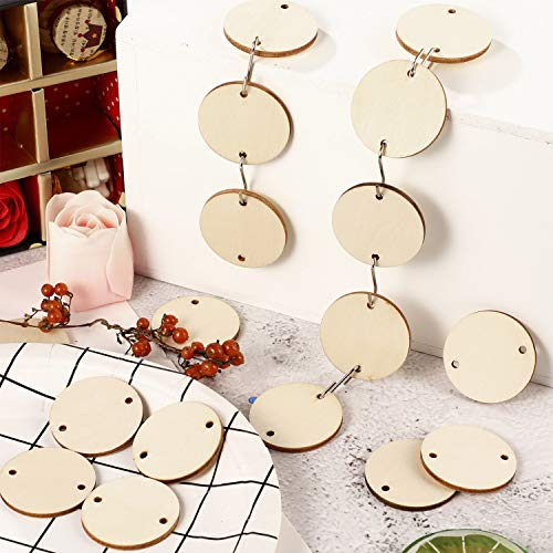 240 Pieces in Total, Christmas Wooden Ornaments Heart Tags Round Wood Discs with Holes and S Hook Connectors for Birthday Boards, Valentine, Chore Boards and Crafts (Style 3)