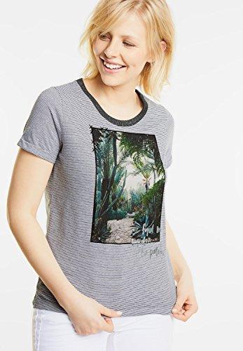 CECIL Damen Streifenshirt mit Fotoprint graphit light grey (grau)