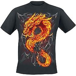 Spiral Fire Dragon Camiseta Negro