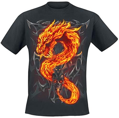 Spiral Fire Dragon Camiseta Negro M