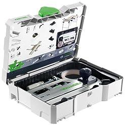 Festool, Set di accessori: 2 morsetti FSZ 120. 1 deviatore FS-AW, unità angolare FS-FS, blocco posteriore FS-RSP, 2 elementi di connessione FVS, 1 paraschegge FS-SP 1400