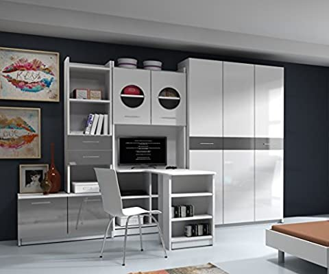 AADA 1 WALL UNIT, OFFICE AT HOME, BEDROOM FURNITURE, HIGH GLOSS FRONTS, 4 COLOURS AVAILABLE (High Gloss White Fronts with Grey Details)
