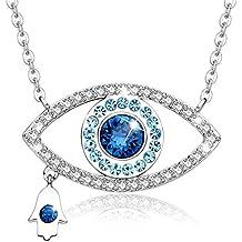 """MEGA CREATIVE JEWELRY """"Amuleto de Amor"""" Collar Mejer Mal de Ojo Hamsa Azul Cristales Swarovski Colgantes de la Moda Aleación Símbolo Nazar, Regalo de la Joyería"""