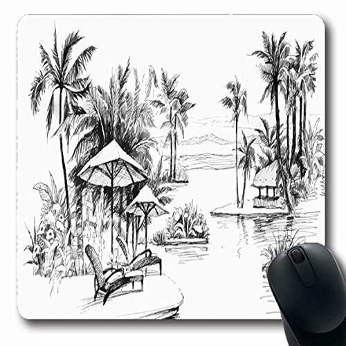 Oasis Palm-design (Luancrop Mousepads Wasser Aquarell Kokosnuss Schwarz Weiß Malerei Palm Alley Beach Blau Baum Szene Oasis Lagoon Design rutschfeste Gaming Mouse Pad Gummi Oblong Mat)