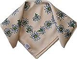 Halstuch Trachtentuch Polyester Edelweiss-muster nikituch 50x50cm 11x Farbtöne, Farbe:Beige