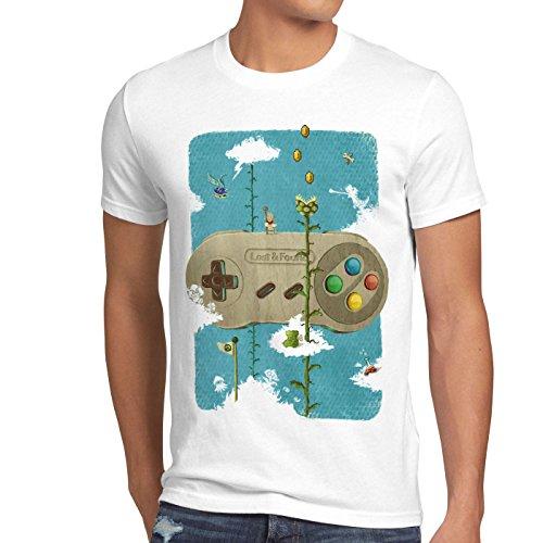 style3 16-Bit Nostalgie T-Shirt Herren snes mario super kart 8-bit yoshi, Größe:XL;Farbe:Weiß
