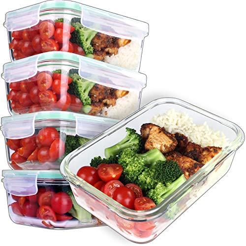 GOOD FOR YOU 5er Pack Glasmehl-Vorbereitungsbehälter - Glas-Lagerbehälter mit Deckel - Geschirrspüler Mikrowelle, Ofen & Gefrierschrank Safe-BPA Frei 850ml 28oz 3.5Cups