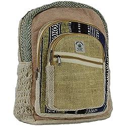 Negro y Blanco cáñamo lienzo mochila bolsa de la escuela–100% Pure mochila de cáñamo hecha a mano Nepal Fashion Cute viajes escuela Colegio Bolsa de hombro/bookbags/Daypack...