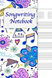 Songwriting Notebook: Lyrics Journal , Cornell Notes and Staff Paper with room for Guitar Chords, Lyrics and Music. Songwriting Journal for Musicians, Students , Lyricists. Festive Music Doodle