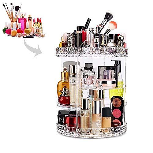 Kalolary Makeup Organizer, 360 Grad einstellbare Acryl klar kosmetische Organizer große Kapazität Lagerung Parfüm Organizer ideal für Kommode, Schlafzimmer, Badezimmer -