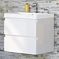 600 mm White Vanity Sink Unit Ceramic Basin Wall Hung Bathroom Storage Furniture