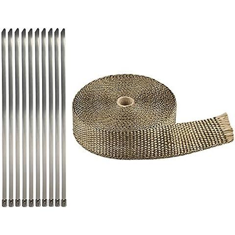 Golden Seeds 10m Nastro Termico Scarico Isolante Bende per Moto Collettori Chiaro + Kit di (Scarico Universale Kit)