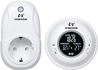 NASHONE Digital Wireless Thermostat RF Steckdose, mit Heizungs- und Kühlmodus, Fernbedienungs-Temperatursensor, LCD-Bildschirm mit weißer Hintergrundbeleuchtung