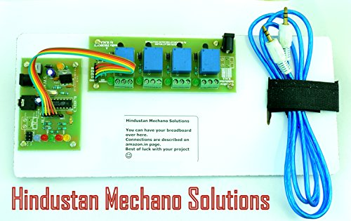 Hindustan Mechano Solutions DTMF and 12V 4 Channel Relay Module Board For Arduino PIC AVR DSP ARM with 5 Female to Female Jumper Wires and AUX Cable  available at amazon for Rs.664