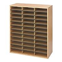 Safco Medium Oak Wood/Corrugated Literature Organiser with 36 Compartment