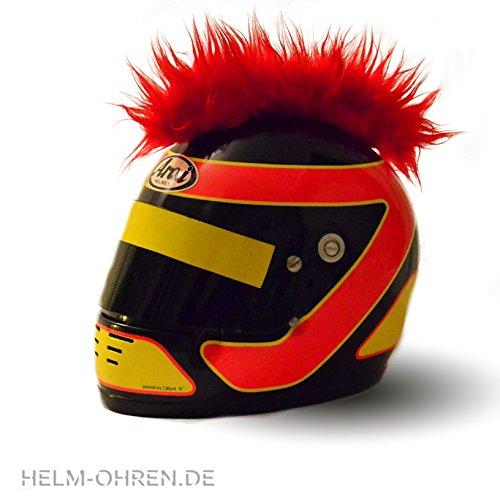 """Helm-Irokese - Farbe: """"Rot"""" - gemacht für den Motorradhelm, Crosshelm, Motocrosshelm oder Skihelm - verwandelt den Helm in ein EINZELSTÜCK - der HINGUCKER - Irokesenaufsatz Punk - Helm-Aufkleber"""